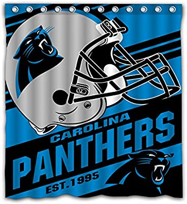 Potteroy Carolina Panthers Team Stripe Design Shower Curtain Waterproof Mildew Proof Polyester Fabric 66x72 Inches