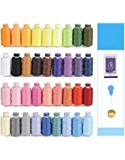 KEIMIX 72Pcs Sewing Threads Kits, 550 Yards Per Polyester Thread Spools with Prewound Bobbins, 36 Colors, for Hand & Machine Sewing