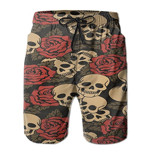 ZQZM Rose Skull Men Summer Swim Trunks Printed Qucik Dry Pockets Casual X-Large