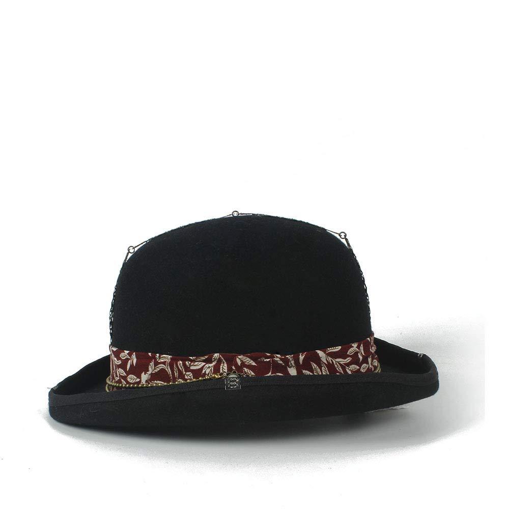 Couleur : Noir, Taille : 55cm ZhengFei Tendance Vintage Steampunk Rouge Plus D/écoration en M/étal avec Chapeau Noir Universal Couple Marron Fedora Chapeau De F/ête Chapeaux Chapeau d/ét/é en Plein air