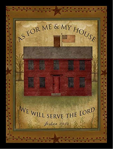 FRAMED Primitive House by Beth Albert 12x16 Art Print Poster Abstract Textual Home Sign Red House, As For Me & My House We Will Serve The Lord
