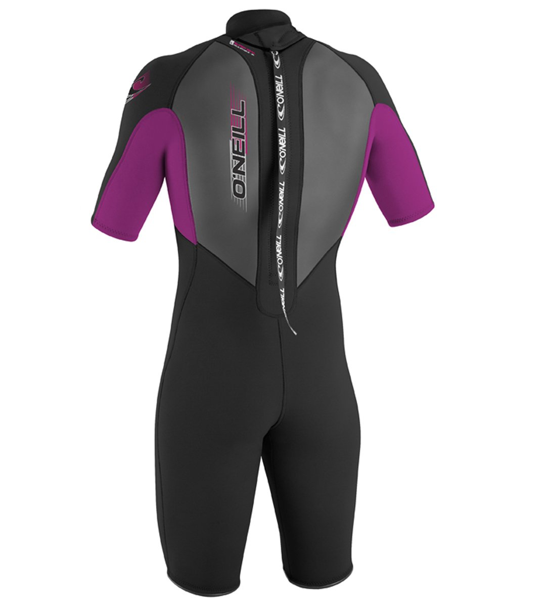 O'Neill Youth Reactor 2mm Back Zip Spring Wetsuit, Black/Pink/Black, 4 by O'Neill Wetsuits (Image #2)