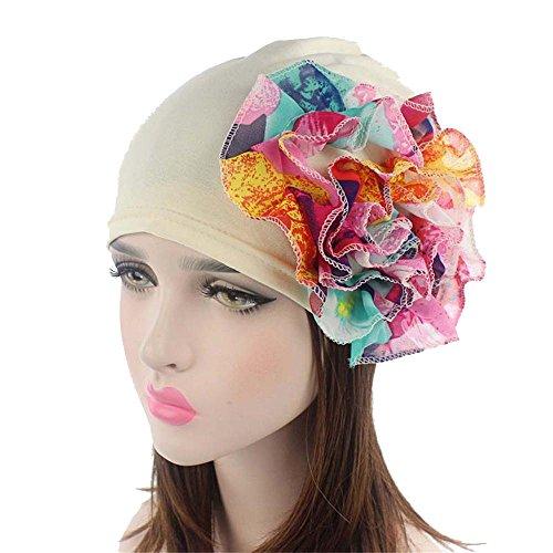 [Ever Fairy 5 Colors Chemo Cancer Head Scarf Hat Cap Ethnic Cloth Flower Printed Turban Headwear Women Stretch Big Flower Muslim headscarf] (Ethnic Hats)