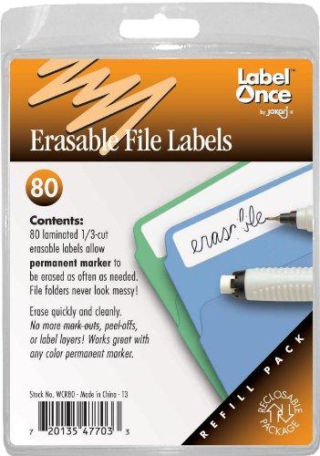 Jokari Label Once Erasable File Labels Refill Pack, - Jokari Erasable Food Labels