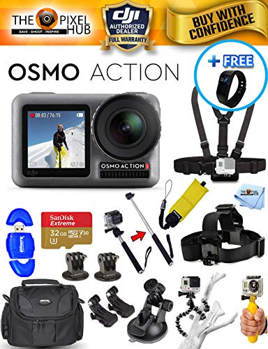 DJI Osmo Action 4K Camera Accessory Bundle with 32GB MicroSD, Case, Head and Chest Strap, Tripod + Much More