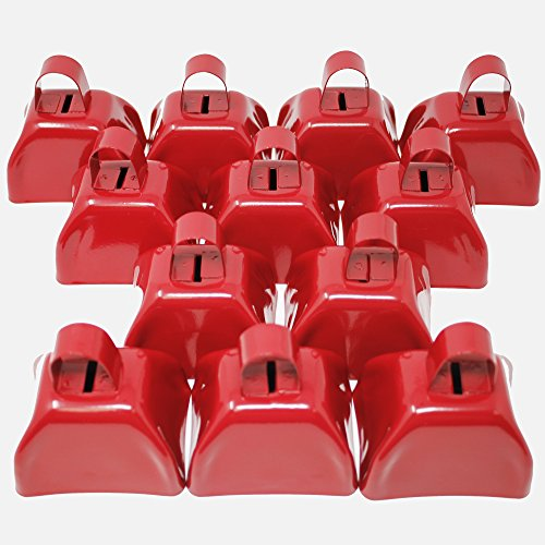 Fun Central BC871 3'' Metal Cowbell Noisemakers, School Cowbells, Sport Cowbells, Easy to Grip-for New Year, Christmas, Rodeo Noisemaker,Decorations-12 pc