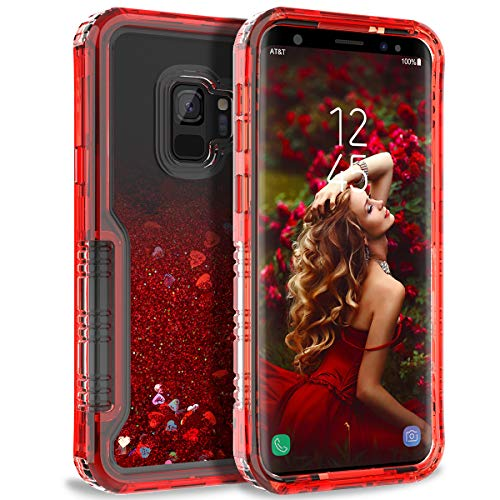 - Dexnor Compatible with Samsung Galaxy S9 Case Floating Glitter Bling Moving Liquid Quicksand Hard Cover Clear Transparent Dual Layer Full Protection Bumper for Girls/Women - Red