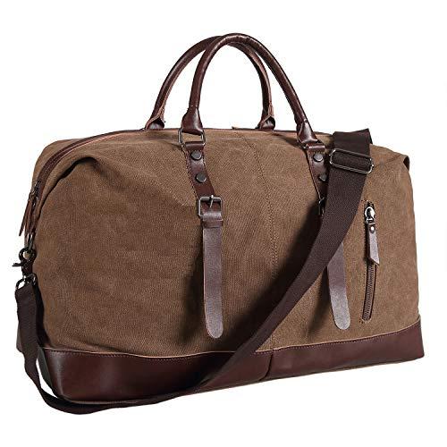 Ulgoo Duffel bag Oversized Canvas Travel Bag PU Leather Weekend Bag Overnight (Coffee)