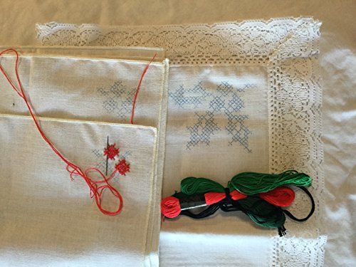 Stamped Cross Stitch Place-mats & Napkins (set of 4 each) with floss