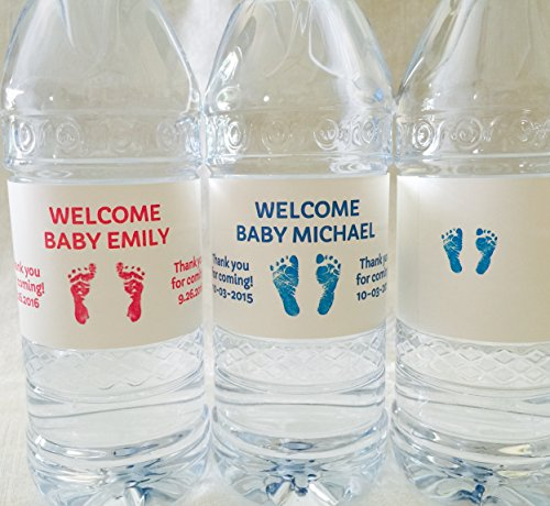 20 Personalized Footprint Themed Waterproof Water Bottle Labels/Stickers for Girl or Boy Baby Shower - Makes Great Party Favors