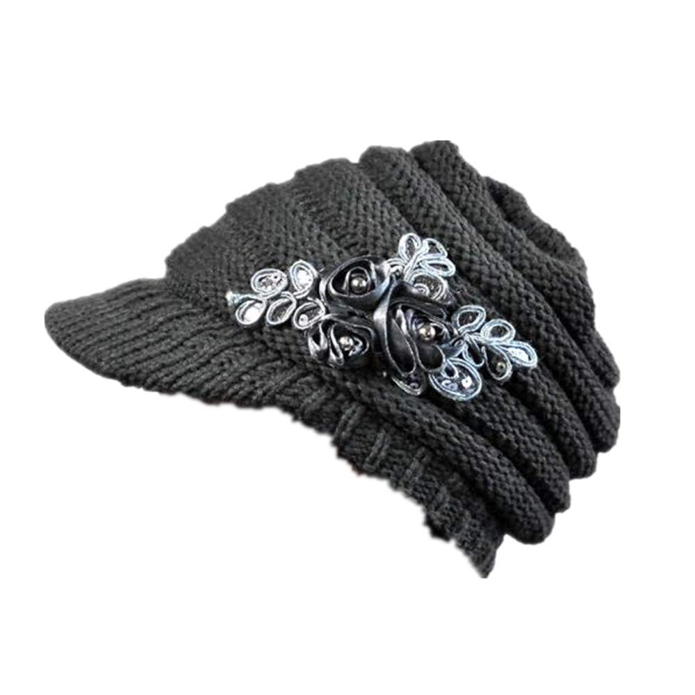 Kailemei Women Hat Korean Version of The and Winter Ladies Hat Brim Sequin Applique (Gray, Free)