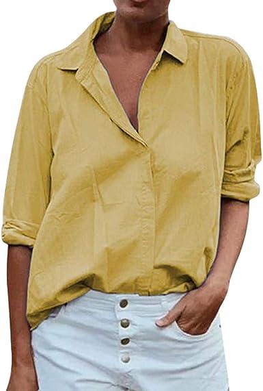 VEMOW Blusas Mujer Casual SóLido Solapas Manga Larga Camisa Suelta SóLida Tops Blusa Camisetas Abrigos Invierno De Mujer OtoñO Chaqueta De TúNica: Amazon.es: Ropa y accesorios