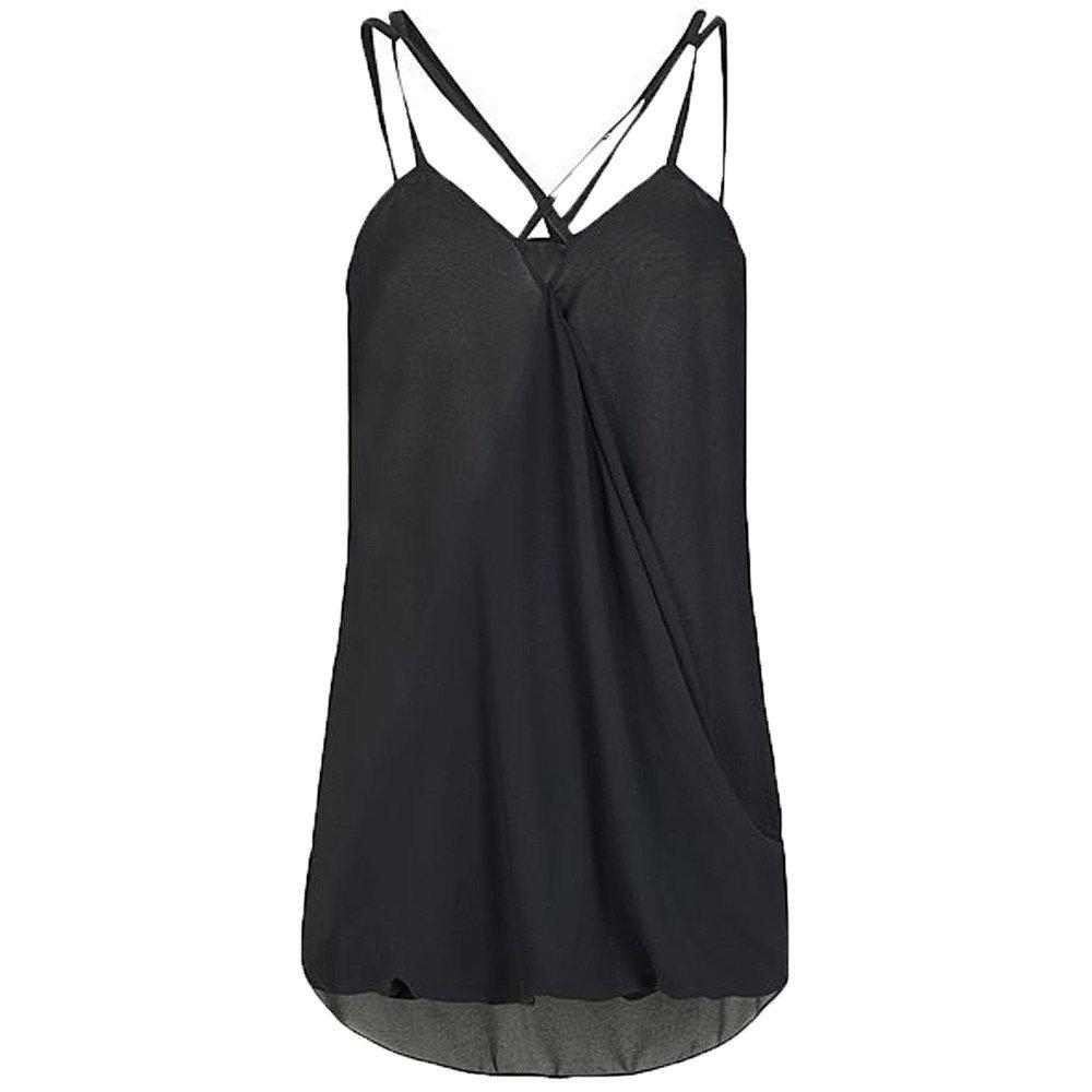 Dunacifa Women Tank Top Fashion Women Summer Wrap Cross Sleeveless Chiffon Casual Sling Tank Top Blouses Black