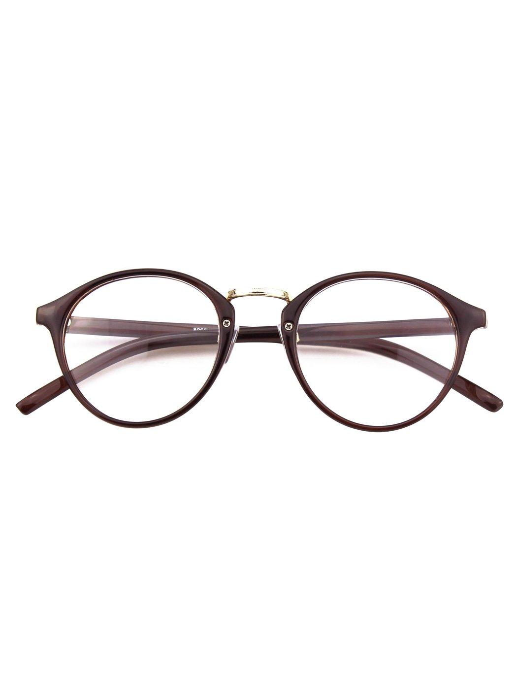 HAPPY STORE CN65-Vintage Inspired Classic Nerd UV 400 Clear Lens Glasses, Brown CGID N1411FBA65A1