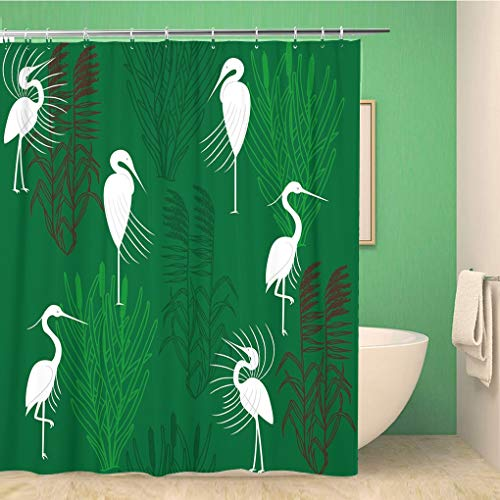 Awowee Bathroom Shower Curtain Coastal Herons and Marsh Plants Green Brown Animal Beak 72x78 inches Waterproof Bath Curtain Set with Hooks