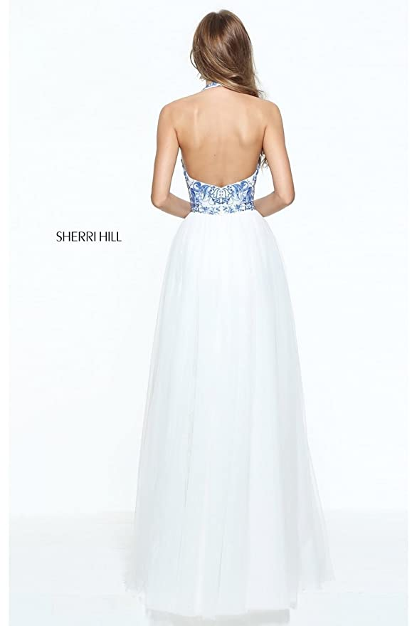 Sherri Hill Ivory/Blue 51021 Embroidered Bodice Halter Dress: Amazon.co.uk: Clothing