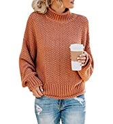 ANRABESS Women's Turtleneck Oversized Sweaters Batwing Long Sleeve Pullover Loose Chunky Knit Tops