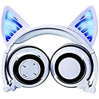Wireless Bluetooth Headphones with Cat Ear,Topways LED Foldable Over-ear HD Headset with Microphone,Volume Limiter for Children/Teens/Adults,Compatible with Smartphone PC Tablet (White)