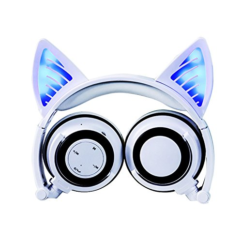 Wireless Bluetooth Headphones LED Glowing Cat Ear Foldable Over-Ear Headsets Noise Reduction with Mic Volume Control with LED Flash Light for Android Mobile Phone,MacBook (White) ()