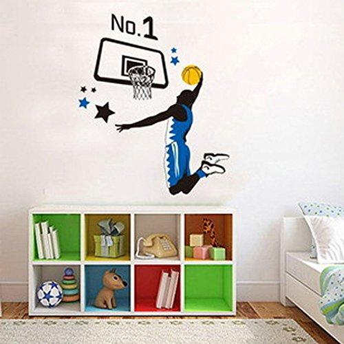 Wall Decal Play Basketball Slam Dunk Home Sticker House Decoration WallPaper Removable Living Dinning Room Bedroom Kitchen Art Picture Murals DIY Stick Girls Boys kids Nursery ()