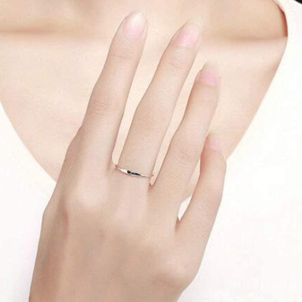 Stainless Steel Heart Shaped Wedding Band Promise Statement Stackable Ring