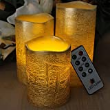 RUSTIC GOLD FLAMELESS CANDLES WITH TIMER REMOTE CONTROL, Unscented Flickering Battery Operated Electric Candle for Home Decor, Weddings, Parties and Awesome Gifts
