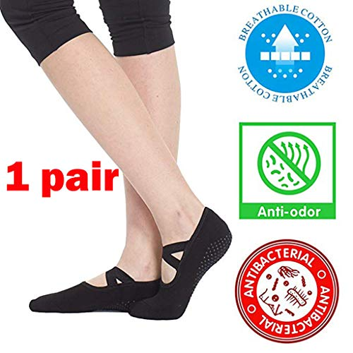 Haluoo Yoga Socks for Women Non Skid Slip Resistant Grips Ballet Barre Dance Pilates Socks Barefoot Workout Dance Sport Yoga Socks (1 Pair)