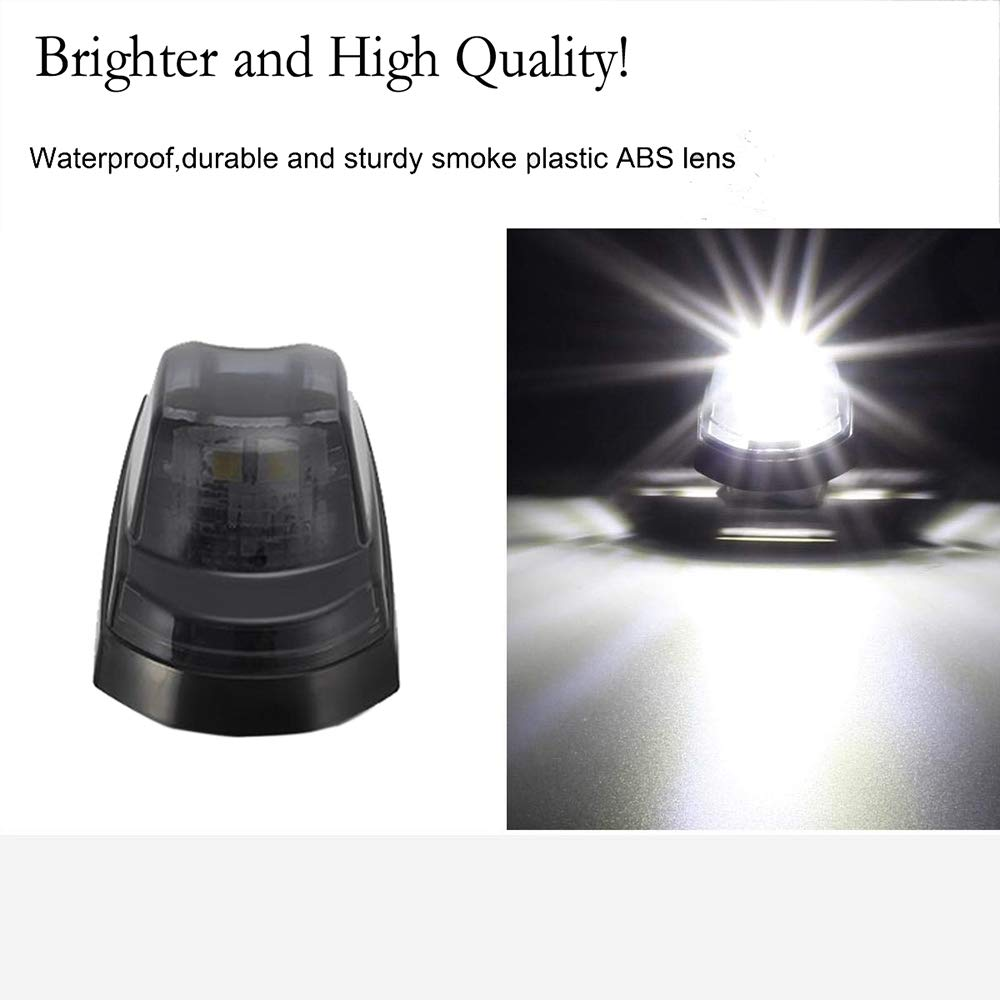 GSRECY 5pcs 2LED Smoke Cab Roof Top Marker Running Lamps White 2 LED Lights For 2017 2018 Ford F250 F350 Super Duty