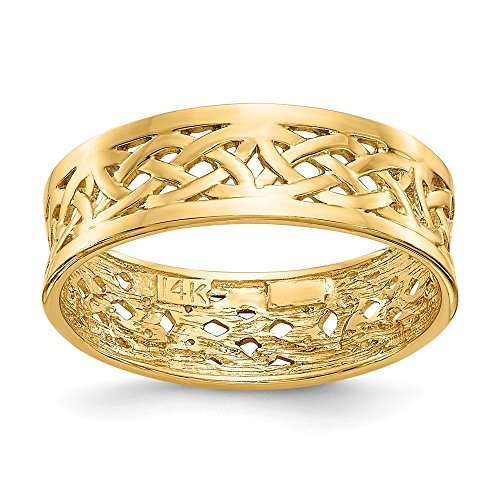 Size - 5.5 - Solid 14k Yellow Gold Polished Celtic Knot Band Ring (6mm) ()