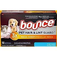 Bounce Dryer Sheets - Pet Hair & Lint Guard - Mega Sheet - Fresh Scent - 50 Count Sheets Per Box - One (1) Box
