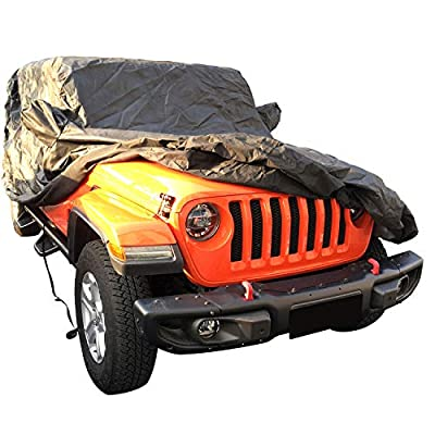 IBACP Black Jeep Covers fits 2014-2020 Jeep Wrangler JK JL -Waterproof Snowproof Windproof Non-Woven Fabric Car Cover: Automotive