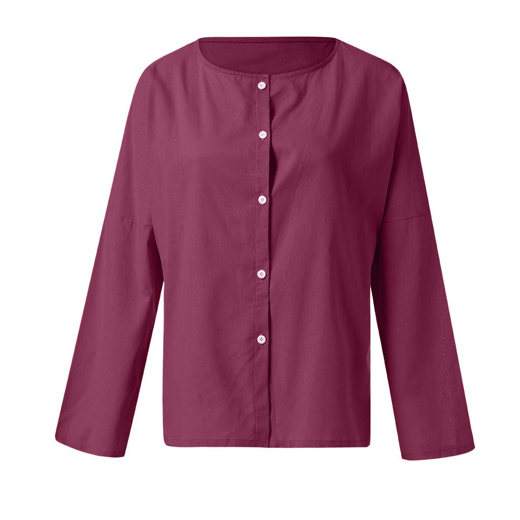 2019 Womens Summer Casual Short Long Sleeve Swing Button Down Tops Blouse