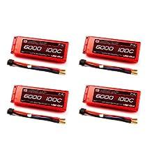 Venom 100C 2S 6000mAh 7.4v LiPO Battery Hard Case ROAR with Universal Plug x4 Packs