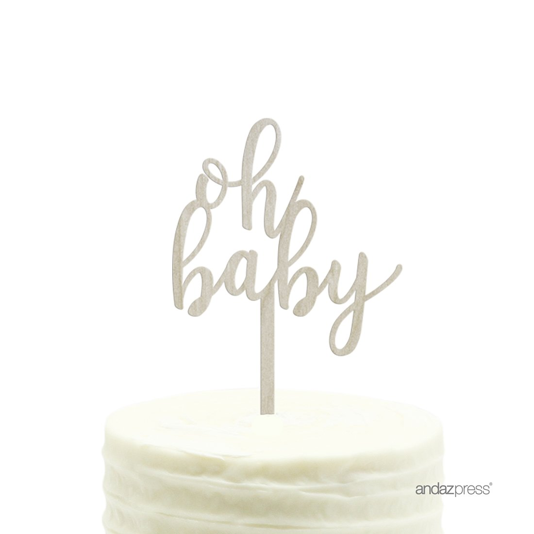Andaz Press Baby Shower Wood Cake Toppers, Oh Baby, 1-Pack, Nautical Ocean Themed Party Decor Decorations