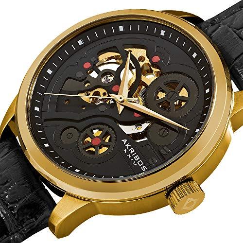 (Akribos XXIV Men's AK538YG Mechanical Skeleton Leather Strap Watch )