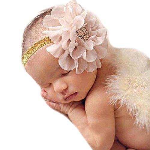 Miugle Baby Gold Headbands Baby Girls Rhinestone Flower Headbands