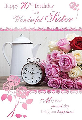 Happy 70th Birthday To A Wonderful Sister Roses Clock Design Card Amazoncouk Kitchen Home
