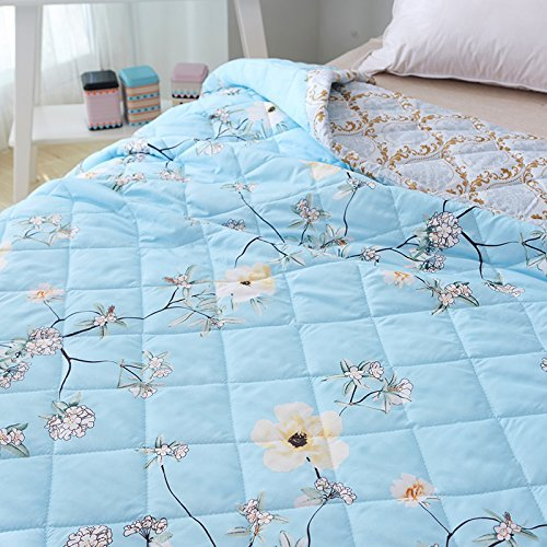 "Cheap KFZ Summer Quilt Comforter Bedspread for Bed Breathable XR Three Sizes Flower Series Colorful Space Gardenia Flower Garden Designs For Children Adult One Piece (Fresh Garden,Blue, Twin, 59""x78"") for cheap"