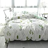 HIGHBUY Full/Queen Kids Cactus Print Bedding Set Plant Cartoon Duvet Cover 100% Cotton Full Girls Comforter Cover Reversible 3 Piece Bedding Set Queen for Teens Children Adult White Green,Cactus