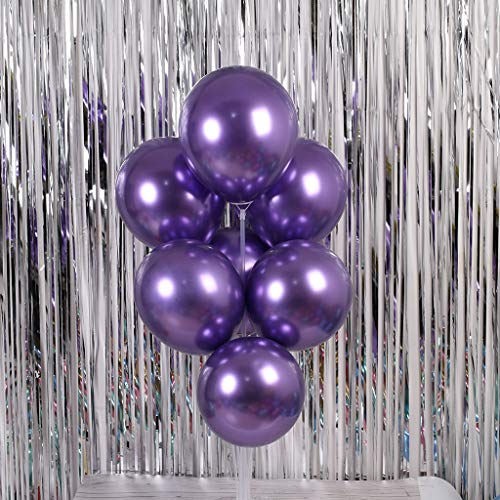 Wffo Party Balloons 12inch 50 Pcs Latex Metallic Balloons Birthday Balloons Helium Shiny Balloons Party Decoration Compatible Wedding Birthday Baby Shower Christmas Party - Multicolor (Chrome Purple)