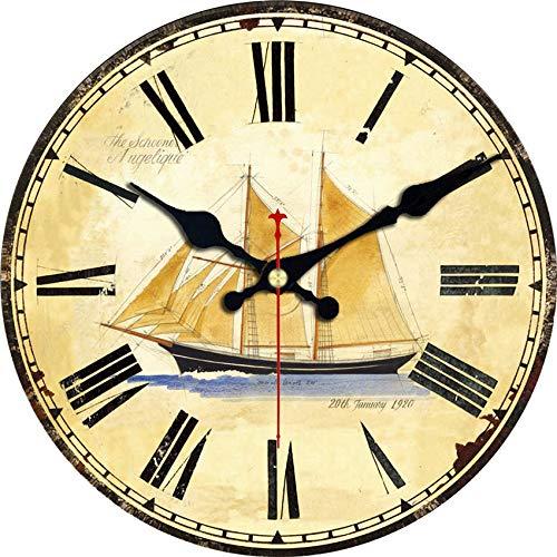 Antique Clocks Silent World Map | Sailboat Design Clock| Large Art Wall Clocks No Ticking Sound | Home Decor for Office Study Kitchen