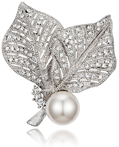 [Vintage-Inspired Two Leaves Design with White Simulated Pearl & Clear Rhinestone Wedding Brooch Pin] (Hollywood Themed Costumes Women)