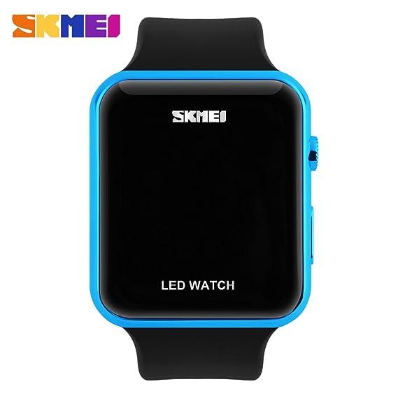 Reloj digital LED unisex simple para hombres, mujeres y adolescentes, color azul: Amazon.es: Relojes