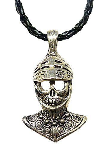 [BDJ Pewter Gothic Armored Skull Pendant P'leather Necklace 16