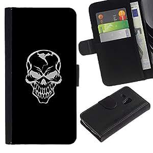 MobileX / Samsung Galaxy S3 MINI NOT REGULAR! I8190 I8190N / Evil Gray Grin Skill / Cuero PU Delgado caso Billetera cubierta Shell Armor Funda Case Cover Wallet Credit Card