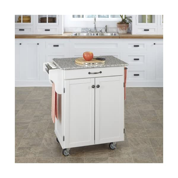 Home Styles Mobile Create-a-Cart White Finish Two Door Cabinet Kitchen Cart with Salt and Pepper Granite Top, Adjustable…