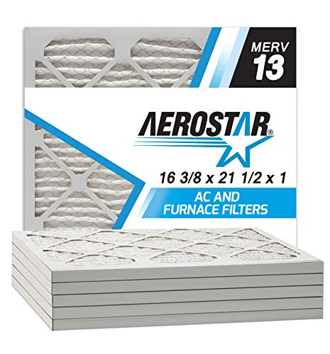 Aerostar 16 3/8x21 1/2x1 MERV 13 Pleated Air Filter, Made in the USA, 6-Pack
