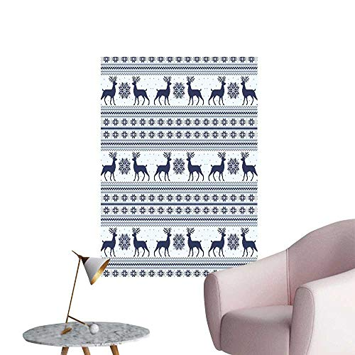 Nordic Wall Mural Wallpaper Stickers Pixel Art Style Christmas Pattern with Reindeer and Snowflake Motifs Corridor Walkway Wall Dark Blue Pale Blue White W8 x -