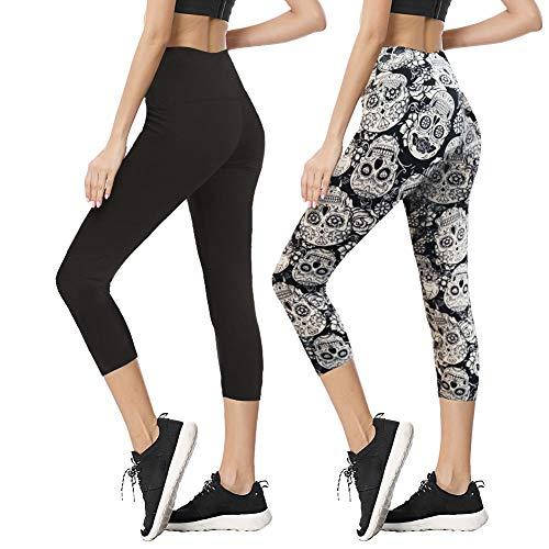 TNNZEET High Waist Capri Leggings for Women Opaque Slim Regular & Plus Size Elastic Buttery Soft Classic Yoga - Fleece Premium Top