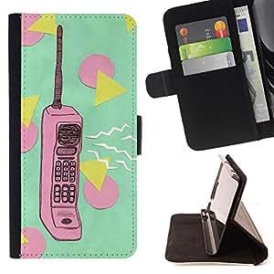 - retro polygon green pink phone vintage - - Prima caja de la PU billetera de cuero con ranuras para tarjetas, efectivo desmontable correa para l Funny HouseFOR Samsung Galaxy S5 V SM-G900